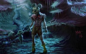 notte, foresta, mouse, sangue