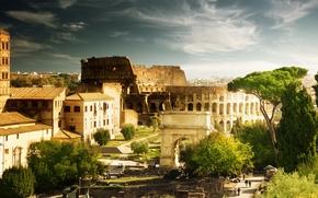 Coliseo, Italia, Roma, arquitectura, casa, Arco de Constantino, Los rboles, personas