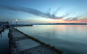 sea, sunset, wharf, landscape