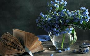 натюрморт, голубые цветы, ваза, книга, шкатулка, закладка, лента, нежно