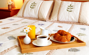 bed, pillows, tray, juice, vase, Flowers, coffee, mug, croissants, Berries, decanter