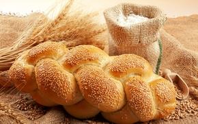 хлеб, батон, кунжут, мешок, мука, зерно, пшеница, колосья