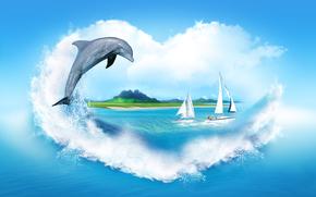 cuore, spray, nuvole, mare, delfino, Barche a vela, costa