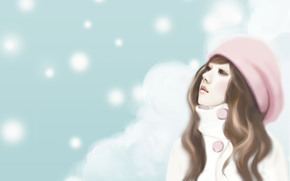 девушка, шатенка, шапочка, мечтательность, снежинки