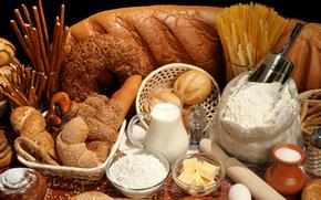 хлеб, молоко, спагетти, мука, булочки, скалка, яйцо, масло, корзинки
