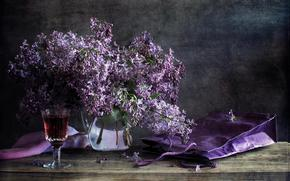 lilac, still life, Flowers, vase, goblet, wine, table, package