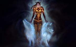 Art, girl, Horn, armor, chain, Wolves, black background