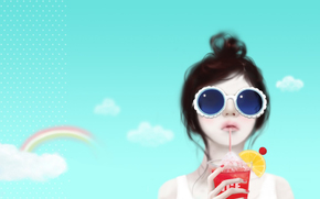 girl, muse, sunglasses, tubule, cocktail, lemon, hairstyle, sky, rainbow, clouds