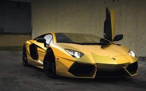 Car Wallpaper Gold Lamborghini Aventador Beautiful Machine