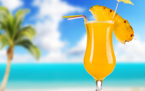 goblet, tubules, cocktail, table, pineapple, palm, sky, sea, skewer, drink