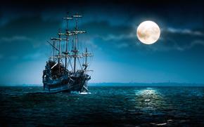 sea, night, full moon, clouds, ship, swimming