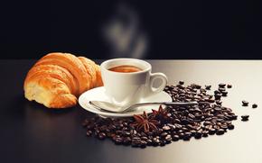 saucer, coffee, smoke, grain, scoop, cappuccino, foam, table, croissant, star anise, cinnamon