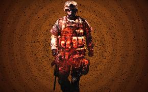 cmp de lupt, soldat, foc. particule