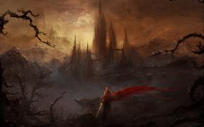 Art, man, Warrior, sword, Mountains, castle, fortress