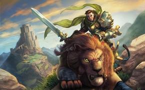 лев, всадник, воин