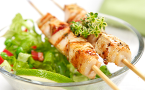 plate, shashlik, greens, tomatoes, spices