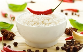 plate, rice, pepper, spices, star anise, leaves