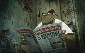 Gorillaz, Rissel, giornale, bagno