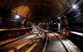 туннель, электричество, метро, рельсы