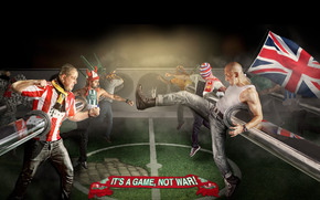 This is a game not a war, football, fans, fight, Flags, background