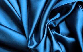 шелк, сатин, синий, блеск, складки, ткань