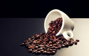 кофе, зерна, рассыпанные, чашка, белая