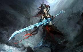 арт, девушка, меч, оружие, корона, рога, холод