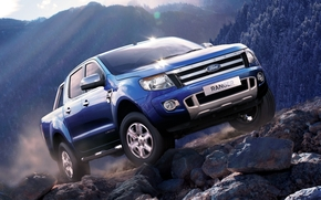 ford, Renzher, Double Cab, Limited, pickup, jeep, blue, front, mountain, stones, sky, ford