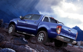 ford, Renzher, Double Cab, Limited, pickup, jeep, blue, back view, mountain, stones, sky, ford