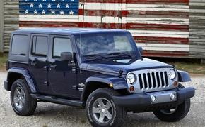 Джип, Ренглер, Анлимитед, внедорожник, передок, американский флаг, Jeep
