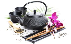 kettle, Circles, tea, flower, Sticks