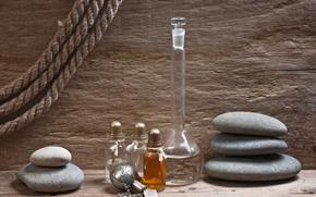 камни, масло, бутылочки