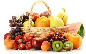 basket, fruit, Berries, strawberry, cherry, grapes, apples, pears, kiwi, oranges, bananas, watermelon, apricots
