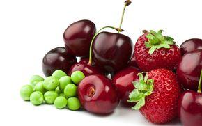 ягоды, клубника, черешня, горох