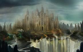 Art, castle, fortress, waterfall, River, rocks