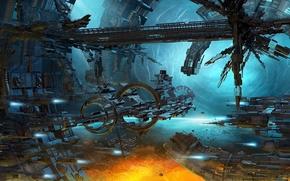 ship, station, planet, vortex, energy