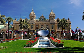 Poppies, fountain, mirror, palace, Sculpture, Palms, casino