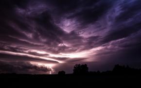 field, evening, violet, sky, clouds, storm, lightning