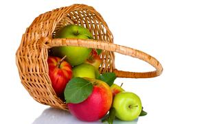 apples, red, green, fruit, basket