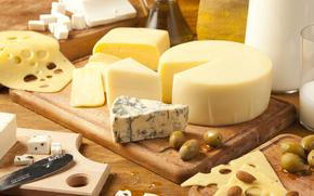 сыр, горгонзола, эмменталь, сорта, оливки, миндаль, доска, молоко
