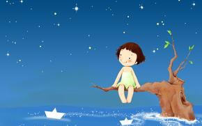 Children's wallpaper, sky, Star, girl, smile, boats, tree, fantasy