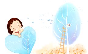 Children's wallpaper, girl, smile, tree, nesting box, foliage, wind, Ladder, heart
