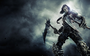 darksiders ii, darksiders 2, death, маска, косы, Смерть, кости, всадник Апокалипсиса, всадник, ворон, пыль, дым, neogaf