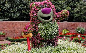 park, Garden, shrubs, colorful, Flowers, sculpture, bear, Bear