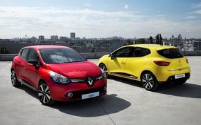 Рено, Клио, хетчбек, красный, желтый, передок, вид сзади, город, панорама, небо, Renault