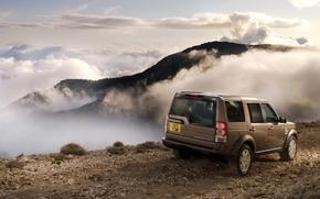 Лэнд Ровер, джип, внедорожник, вид сзади, дорога, горы, облака, небо, Land Rover