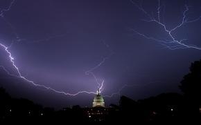 night, Lightning, Washington