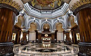 интерьер, отель, колонны, арки, мрамор, роспись, на, потолке.