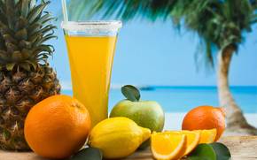 goblet, juice, tubule, fruit, pineapple, lemon, apple, orange, appetizing, palm, sky, sea, sand