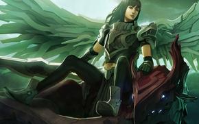 Девушка, механика, доспехи, крылья, меч, дракон, свет
